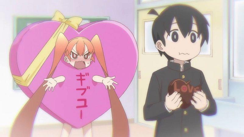 """Кадр из аниме """"Неуклюжая Уэно"""""""