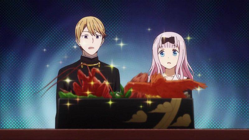 """Кадр из аниме """"Кагуя хочет, чтобы ей признались: Гении — Война любви и разума"""""""