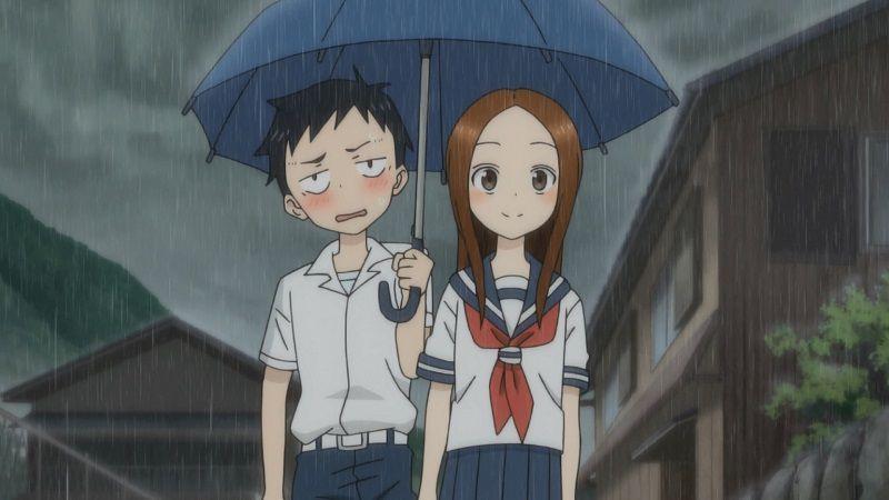 """Кадр из аниме """"Поддразнивание Такаги"""""""